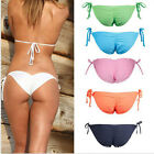 Women's Brazilian Bikini Cheeky Bottom Side Tie Ruffle Knot Underwear Briefs