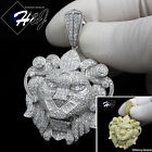 MEN 925 STERLING SILVER LAB DIAMOND ICED BLING SILVER/GOLD LION HEAD PENDANT*154