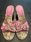 """Coach Pink """"Perry"""" Platform Wedge Slides Shoes - Size 6 1/2 B"""