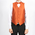 New Men's Prom Orange Vest Tie & Pocket Square Set Formal Special Deal TUXXMAN