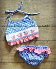 Smocked A Lot girls Whale pink blue bikini 2pc polkadot swim suit beach ruffled