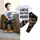 Casual Newborn Kids Baby Boy T-shirt Tops Camo Pants Outfits 2Pcs Set Clothes