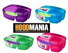 NEW SISTEMA TRIPLE MULTI COMPARTMENT CLIP 2L LUNCH BOX SCHOOL SANDWICH FOOD BOX