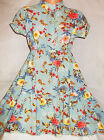 GIRLS DUCK EGG VINTAGE FLORAL PRINT FRILLY DIP HEM SPECIAL OCCASION PARTY DRESS