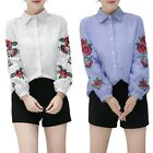 Women's Long Sleeve Blouse Floral Embroidered Shirt Striped Casual T Shirt Tops