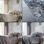 LUXURY CRUSHED VELVET PANEL CREAM MINK SILVER GREY BEDSPREAD BED THROW COVER