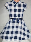 GIRLS NAVY WHITE CHECK PRINT FLARED CASUAL PARTY SHIRT DRESS with RIBBON BELT