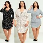 Womens Plus Size Lace-up Plunge Dress D4067