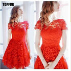 Women Summer Short Sleeve Embroidery Floral Lace Casual Party Club Mini Dress