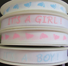 10mm PINK BLUE WHITE BABY RIBBON ITS A GIRL ITS A BOY BABY FEET  PER METRE