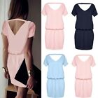 Women Chiffon Backless Short Sleeve Ladies Evening Party Cocktail Mini Dress