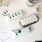 School Supply Stationery Cosmetic Bag Pencil Case Green Cactus Canvas