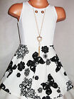 GIRLS WHITE & BLACK FLOWER BUTTERFLY PRINT MINI SKATER PARTY DRESS with NECKLACE