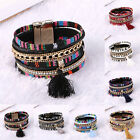 Men Women Charm Braided Leather Cuff Punk Bangle Bracelet Wristband Jewelry Gift