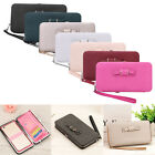 Ladies Multi Feature Mobile Phone Bag Bowknot Wallet Long Clutch Purse Handbag