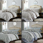 CATHERINE LANSFIELD OPULENT JACQUARD CREAM BLUE BEDSPREAD BED QUILT THROW