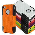 New Hybrid Silicone & Hard Mesh Case Cover for iPhone 4 4S & Stylus