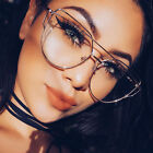 Women's Glasses Brand Metal Flat Lens Vintage Fashion Clear Oversized Sunglasses