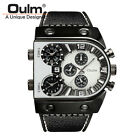 Oulm 3-Movt Quartz Leather Strap Watch Men's Military Outdoor Sports Wristwatch