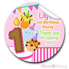 1xA4 Sheet Personalised Animal Friends Birthday Party bags GLOSSY STICKERS pink