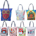 Women Canvas Tote Shoulder Handbag Owl Print Travel Shopping Satchel Folding Bag