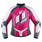 Icon Womens Pink/White/Grey Textile Overlord Sweet Dreams Motorcycle Jacket