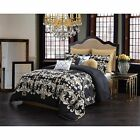 Queen King Size Bed Black Gold White Damask Scroll 10 pc ...