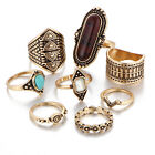 6Pcs Boho Geometric Turquoise Silver Gold Tone Tribal Ethnic Midi Knuckle Rings
