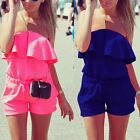 Women Fashion Summer Off Shoulder Ruffled Jumpsuit Romper Beach Drawstring Short