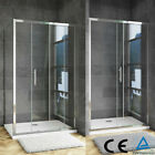 Aica Walk In Sliding Shower Enclosure  & Tray  Waste Glass Screen Door Cubicle