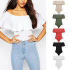 Womens Off Shoulder Sleeveless Jumpsuit Fashion Summer Frill Bodysuit Leotard US