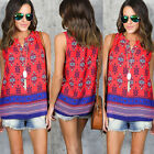 Fashion Summer Women's V Neck Lace Up T-Shirt Sleeveless Loose Top Casual Blouse