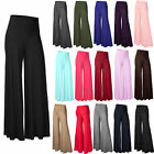 Women's High Waist Stretch Casual Pants Palazzo Flared Wide Leg Trousers S-XXL