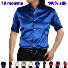 Mens 19Momme 100% Pure Silk Dress Business Formal Shirts Short Sleeve Size S-3XL