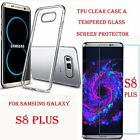 Silicone TPU Clear Case Cover For Samsung S8 S8 Plus + Tempered Glass Protector