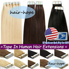 Seamless Tape in Weft Remy Human Hair Extensions 7A 18Inch20/40/60pieces US Ship