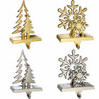 Gold Silver Plated Christmas Tree Snowflake Stocking Holder Decoration Metal