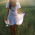 Women Summer White Two-Piece Set Deep V Neck Sleeveless Crop Top Mini Skirt