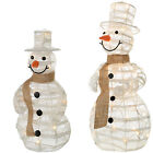 Pre-Lit Paper String and Gauze Small Large Snowman Warm White LED Lights White