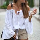 Women Fashion Off Shoulder White Tops T shirt Long Sleeve Casual Summer Blouse