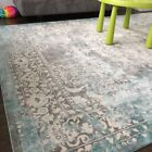 Blue Ivory Washed Rugs Area Rug Traditional Oriental Floor Décor Carpet