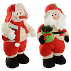 Plush Snowman Santa With Gift Bag Christmas Decoration Novelty Red White Green