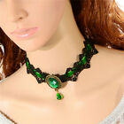 Women Pendant Necklace Jewelry Goth Lace Gemstone Collar Choker Crystal  OZ