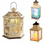 Pre-Lit Wooden Lantern Christmas Decoration Warm Multi LED Lights Forest Plain