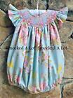 Smocked A Lot girls bubble Blue Pink Floral Posies Vintage Rose PEARLS Birthday!