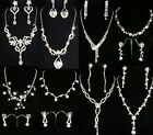 SALE Prom Bridesmaid Silver Plated Simulated Diamond Necklace & Earrings N068
