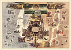 A Tale of two cities MAP Charles Dickens London Paris Pictorial Poster Reprint