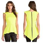 DA9 Neon Yellow Asymmetrical High Low Zip Back Blouse Top