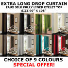 "Extra Long Drop Curtain 90"" x 108"" inch Faux Silk Fully Lined Eyelet Curtains"