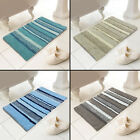 100% COTTON TONAL STRIPE HEAVY BATH MAT RUG TURQUOISE BLUE SILVER GREY NATURAL